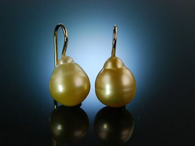 Feinste Südsee Zucht Perlen Tropfen Ohrringe Ohrhänger Gold Pearl Drop Earrings