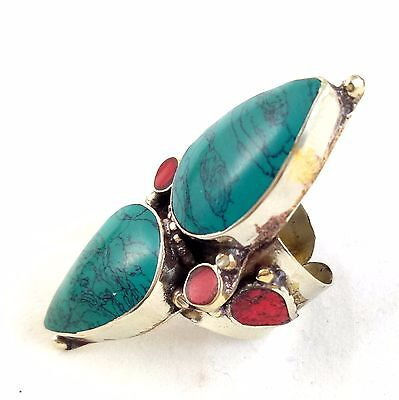 Rare 925 Sterling Silver Overlay Double Turquoise Stone Ring Tibetan jewelry