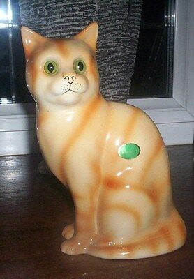 Lovely Ginger Cat Ornament By Nelson Pottery Staffordshire Glass Eyes