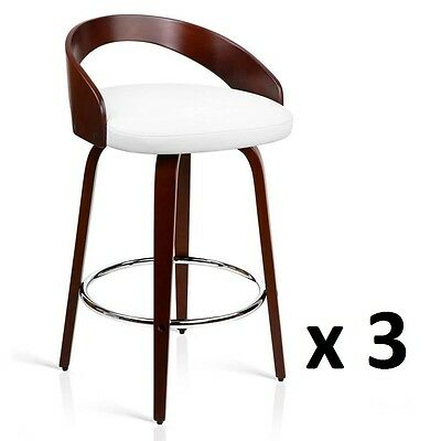 3x Wooden Bar Stool Swivel Barstool Kitchen Dining Chair Wood White 8565