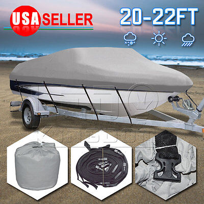 "20-22 Ft Trailable Boat Cover V-Hull 100"" Beam 600D Heavy Duty Fabric Waterproof"