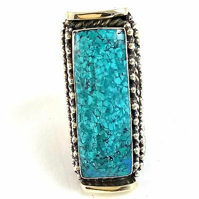 925 sterling Silver Overlay Handmade Jewelry Ethnic Turquoise Ring Free Size