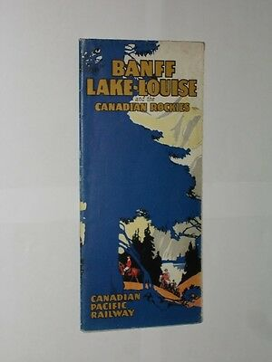 Banff Lake-Louise & The Canadian Rockies. Canadian Pacific Railway Map 1928.
