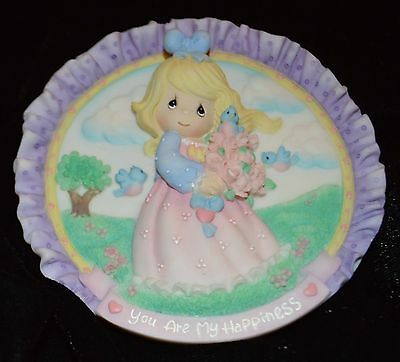 """Avon Enesco Precious Moments Miniature Plate Happiness Girl with Flowers 4"""""""