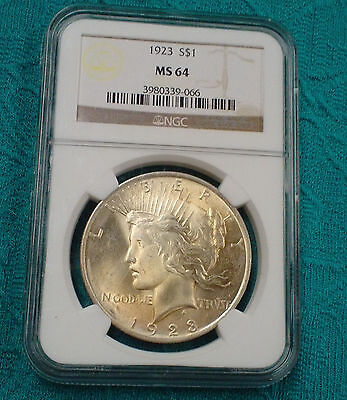 1923 -P  Peace Dollar  NGC Certified MS64 Nice Looking Silver Coin  PP-066