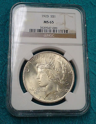 1923 -P  Peace Dollar  NGC Certified MS65 Nice Looking Silver Coin  PP-009
