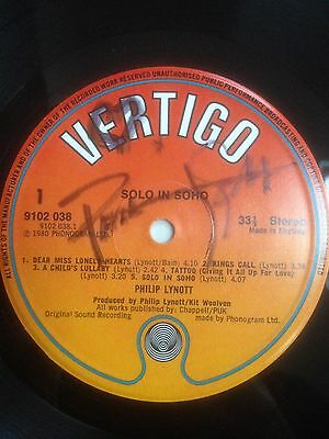 Phil Lynott signed Solo in Soho album Thin Lizzy