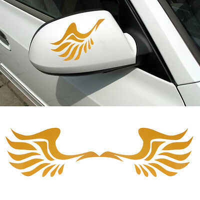 Fashion Wing Design 3D Decoration Sticker For Car Side Mirror Rearview Yellow