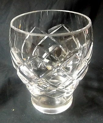 Cut Glass Tumbler / Vase With A Diamond Pattern. Size 10 x 7 cm.