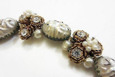 Early MIRIAM HASKELL Baroque Pearls Linked Bracelet Rhinestones Patina unsigned