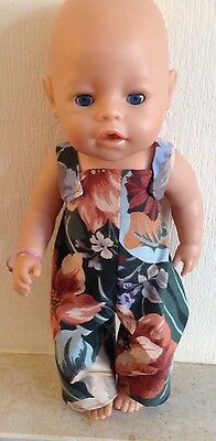Handmade Dolls Clothes Pretty Dungarees To Fit Baby Born/annabell