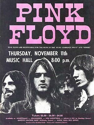 """Pink Floyd Music Hall 16"""" x 12"""" Reproduction Concert Poster Photo"""