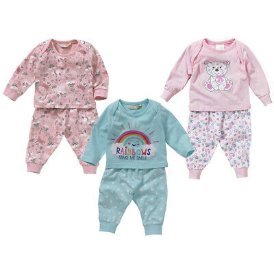 Lullaby Baby Girls Unicorns Rainbow Smiles Floral Teddy Long Cotton Pyjamas