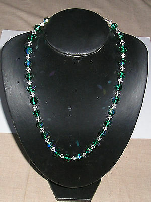 Antique green carnival & clear crystal glass necklace 1940's