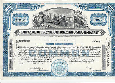Gulf, Mobile and Ohio, 1954, Aktie 100 Shares ,Eisenbahn, Sammleraktie #3