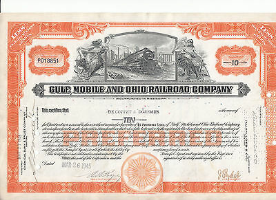 Gulf, Mobile and Ohio, 1945 !!, Aktie 10 Shares ,Eisenbahn, Sammleraktie #4