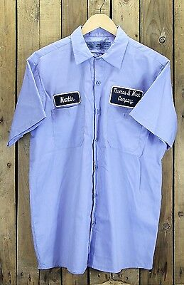 Vintage 1990s Personalised Blue Company Workers Shirt (L)