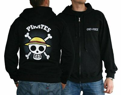 One Piece Zipper Hoodie: Skull with Map (Black) Size M