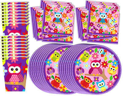 Patchwork Owl Birthday Party Supplies Set Plates Napkins Cups Tableware 16-Kit
