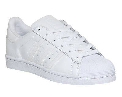 Womens Adidas Superstar Trainers White Mono Foundation Trainers Shoes b53cc32445