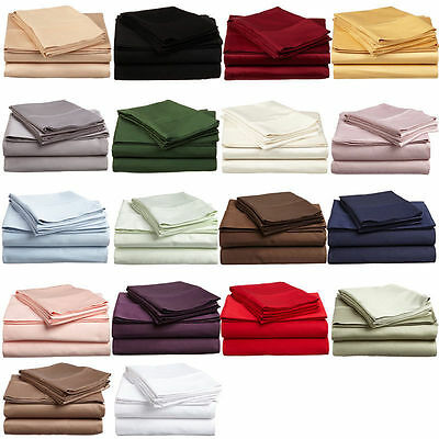 2Pc Pillow Case Auqueen/king/doub Size& 20New Solid Colors 1000Tc Egyptiancotton