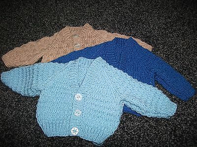Hand Knitted Bundle of Cardigans for Newborn Baby Boy