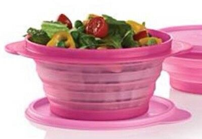 TUPPERWARE GO FLEX / FLAT OUT 700ml EXPANDABLE BOWL PINK PUNCH NEW