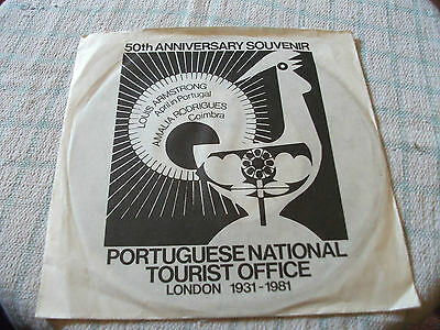 """Louis Armstrong / Amalia Rodrigues 7"""" PS Rare Portugal Tourism 50th Anniversary"""