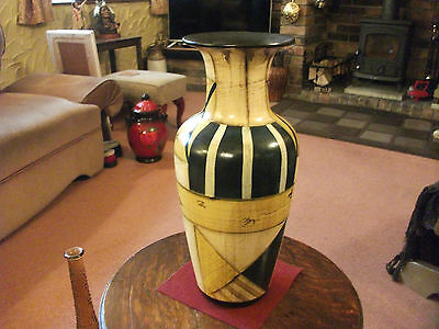 Large Decorative Pottery ? Vase Green Gold And Black