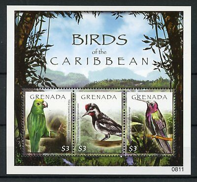 Grenada 2008 MNH Birds 3v M/S Amazon Parrots Hummingbirds Woodpeckers Stamps