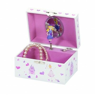 Mele & Co Anne Princess & Castle Musical Ring Chain Necklace Case Jewellery Box