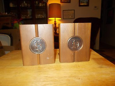 VINTAGE Bookends WOOD Metal COPPER Color BOOK ENDS Pair COLLECTABLE Art