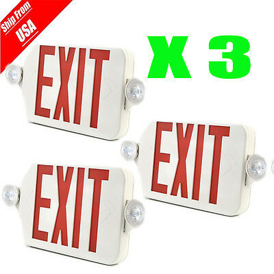 3units LED Exit Sign & Emergency Light Lighitng – RED Compact Combo UL924 USA OY