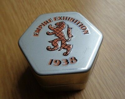 Small Metal Box  with Leaflet MCL Novelties 1938 Glasgow Empire Exhibition