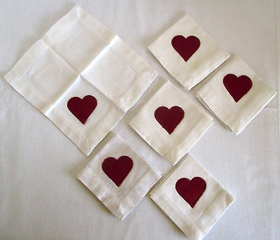 "Valentine Napkins Set of 6 Small - Size 6 1/2"" x 6 1/2""  Sweet!"