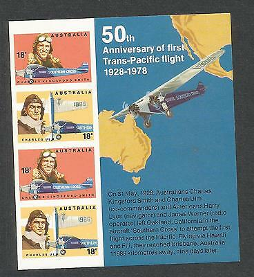 AUSTRALIA #675a, MNH-VF imperf ss: Aviators Issue, airplanes