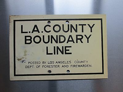 Vintage L.A. County California Boundary Line Sign