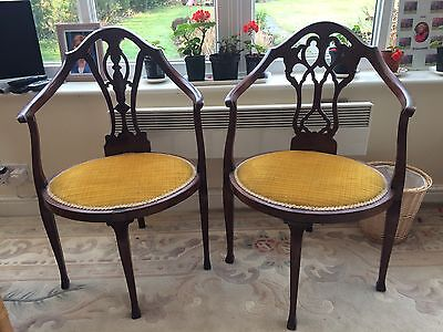 pair antique corner chairs