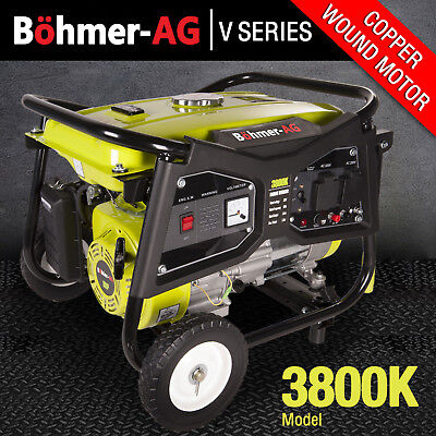 Portable Petrol Generator ~ 3000w /3.8KVA Electric Camping Power ~ 3800K Bohmer