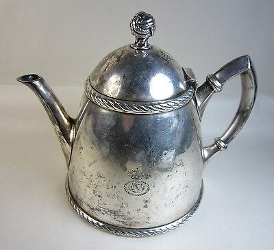 Antique Danish Royal Navy? Boat Nautical Silverplate Teapot w/ Rope Finial