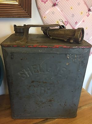 Vintage Shellmex & BP Petrol Can Pratts 3/-And Brass Nozzle