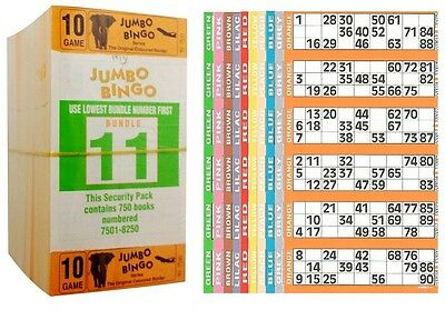 3000 Books 10 Page (Games) 6 To View (Strips Of) Jumbo Bingo Tickets Sheet