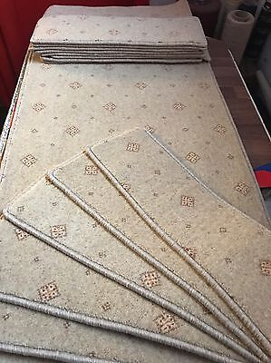 14 Large Top Quality Wool Carpet Stair Tread Pads And Hallway Runner In Beige ��