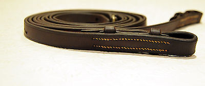 ENGLAND Flat curb pelham reins for bridle BROWN horse full size