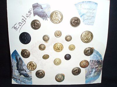 US Military Buttons WWII 21 mixed lot Vintage