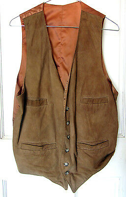Vintage Mens Lamb Suede Leather Vest Satin Back