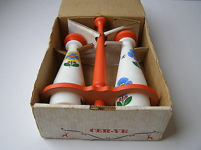 Vintage PARMA ITALY Ceramic Sauce Bottles with Wooden Stand