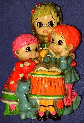 1968 Holiday Fair Vintage Piggy Bank Stopper Three Girls Cat Psychadelic Gift