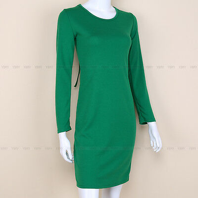 Sexy Women Long Sleeve Slim Back Cross Bangage Clubwear Party Short Dress Green