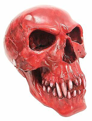 Blood Red Vampire Skull Dracula Head Statue Home Decor Fangs Figurine